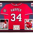 Premium Framed Bryce Harper Autographed / Signed Washington Nationals Jersey - GA COA