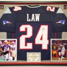 Premium Framed Ty Law Autographed / Signed New England Patriots Jersey - JSA COA