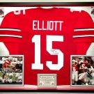 Premium Framed Ezekiel Elliott Autographed / Signed Ohio State Buckeyes Jersey - JSA COA