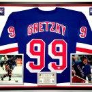 Premium Framed Wayne Gretzky Autographed / Signed New York Rangers Jersey - JSA COA