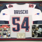 Premium Framed Teddy Bruschi Autographed / Signed New England Patriots Jersey - JSA COA