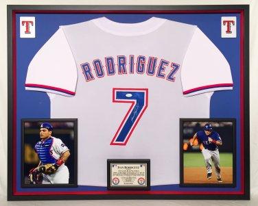Premium Framed Ivan Rodriguez Autographed Texas Rangers Jersey - JSA COA