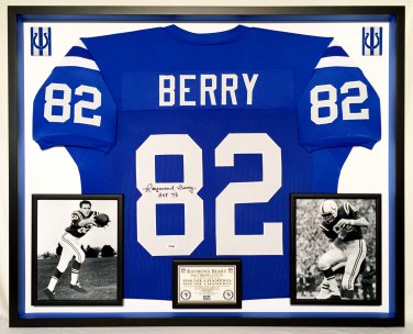 Premium Framed Raymond Berry Autographed / Signed Colts Jersey - PSA COA
