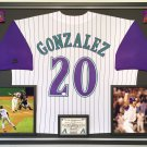 Premium Framed Luis Gonzalez Autographed Arizona Diamond Back Official MLB Jersey - JSA COA