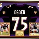 Premium Framed Jonathan Ogden Autographed Baltimore Ravens Jersey - JSA Certified