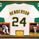 Premium Framed Rickey Henderson Autographed Oakland A's Jersey - GA COA - Athletics - Ricky