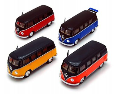 Set of 4 pcs. 1962 VolksWagen Classical Bus Kinsmart diecast car model