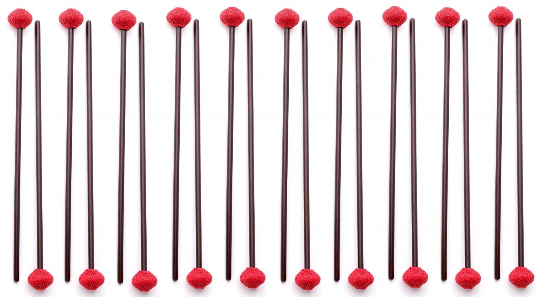 10 Pairs of Hard Marimba Mallets made in EU - ASHKATAN STUDENT SERIES S90 - Maple Handle, Red Yarn