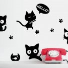 Cute Cartoon Little Black Cat Wall StickerChildren Room