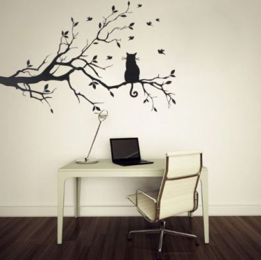 Cat On Tree Branch Wall Sticker Cartoon Animal Cat Art Decal Kid Room Home Decor