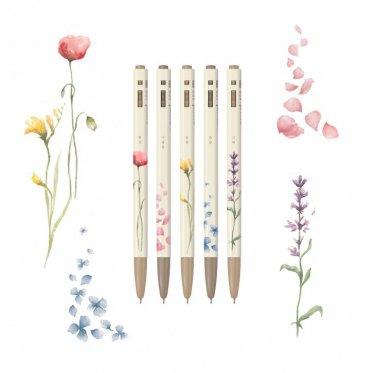 flower pen 5pcs office supply 0.5mm black color