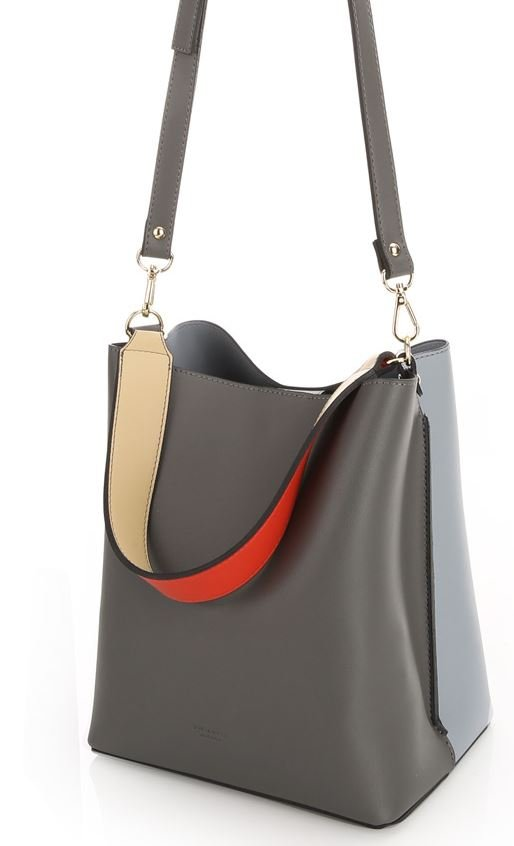 Women's Two Tone Leather Bucket Handbag Shoulder Bag