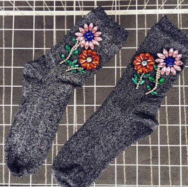 shiny flower beads socks deco socks point socks women socks sneakers