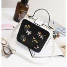 cat flower embroidery leather square bag cat flower needlework leather square
