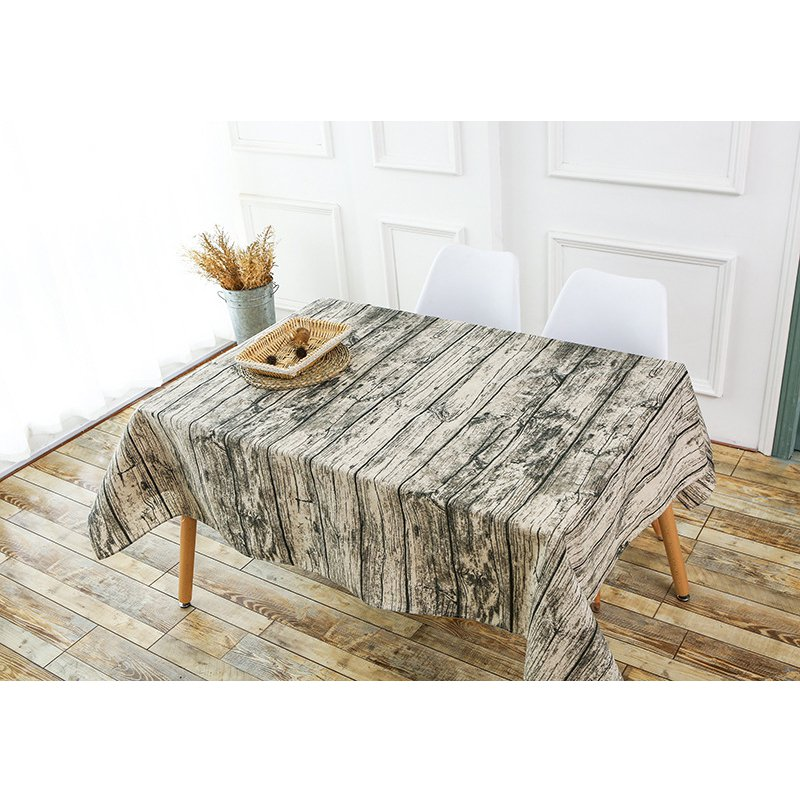 Retro Wooden Wallpaper Dustproof Coffee Rectangular Tablecloth Hot Selling Restaurant Table Cloth