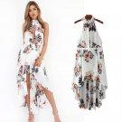 Women's Print Ruffles Chiffon Long Dress Summer Halter Backless Sexy Furcal Dress