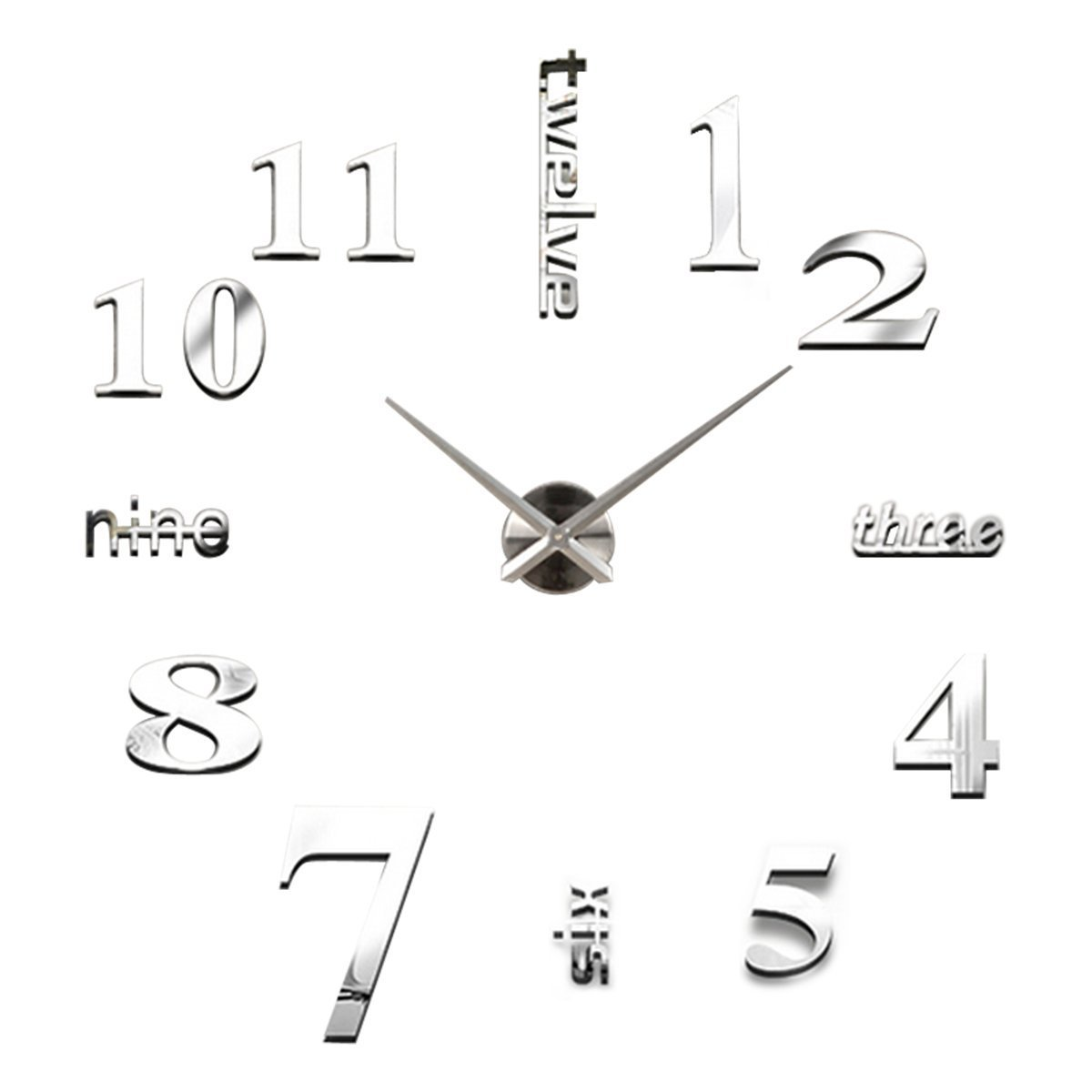 Modern 3D Frameless Large Wall Clock Watches Hours DIY Room Home Decorations