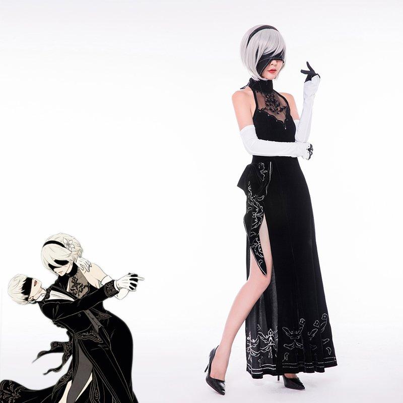 NieR:Automata 2B YoRHa No. 2 Black Sexy Dress Halloween Carnival Cosplay