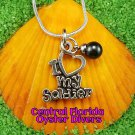 I Heart My Soldier Dangle Charm