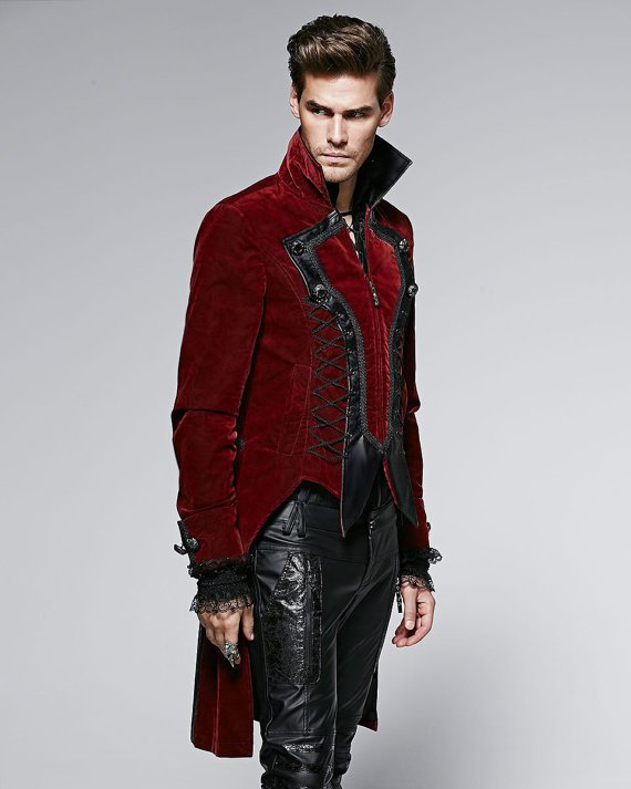 Mens Jacket Coat Red Goth Steampunk Velvet Tailcoat Wedding