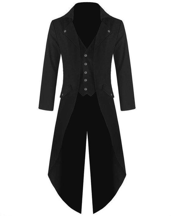Mens Steampunk Tailcoat Jacket Black Gothic Victorian Coat