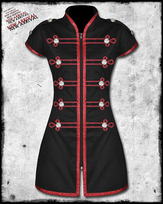 Women Criminal Damage Black Wine Red Steampunk Goth DRUMMER MILITARY Parade MINI Dress