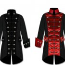 Mens BLACK/RED Velvet Trim Steampunk Vampire Goth Jacket Pirate Coat Handmade
