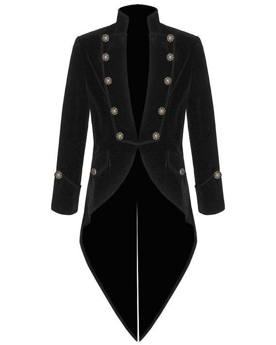 Mens Steampunk Tailcoat Jacket BLACK Velvet Gothic