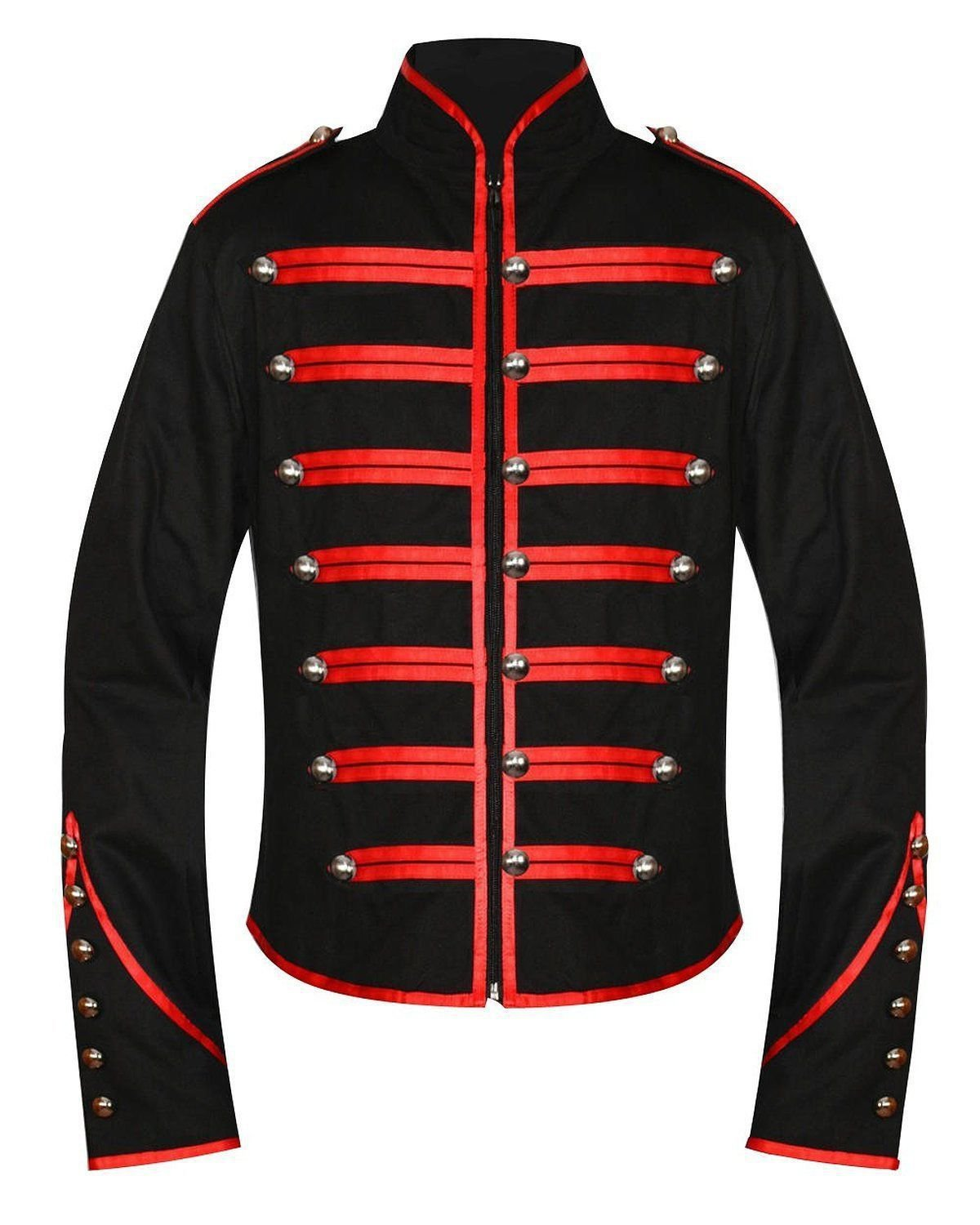 Men Black Parade Military Marching Banned Drummer Jacket