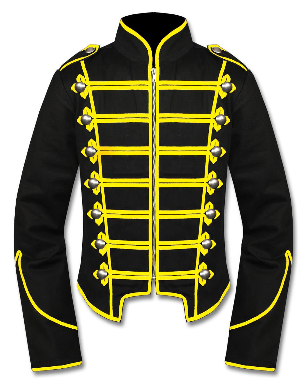 Handmade Men Black/Yellow Military Marching Band Drummer Jacket