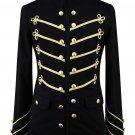 "Man""s Gold Steampunk Black Military Napoleon Jacket Gothic"