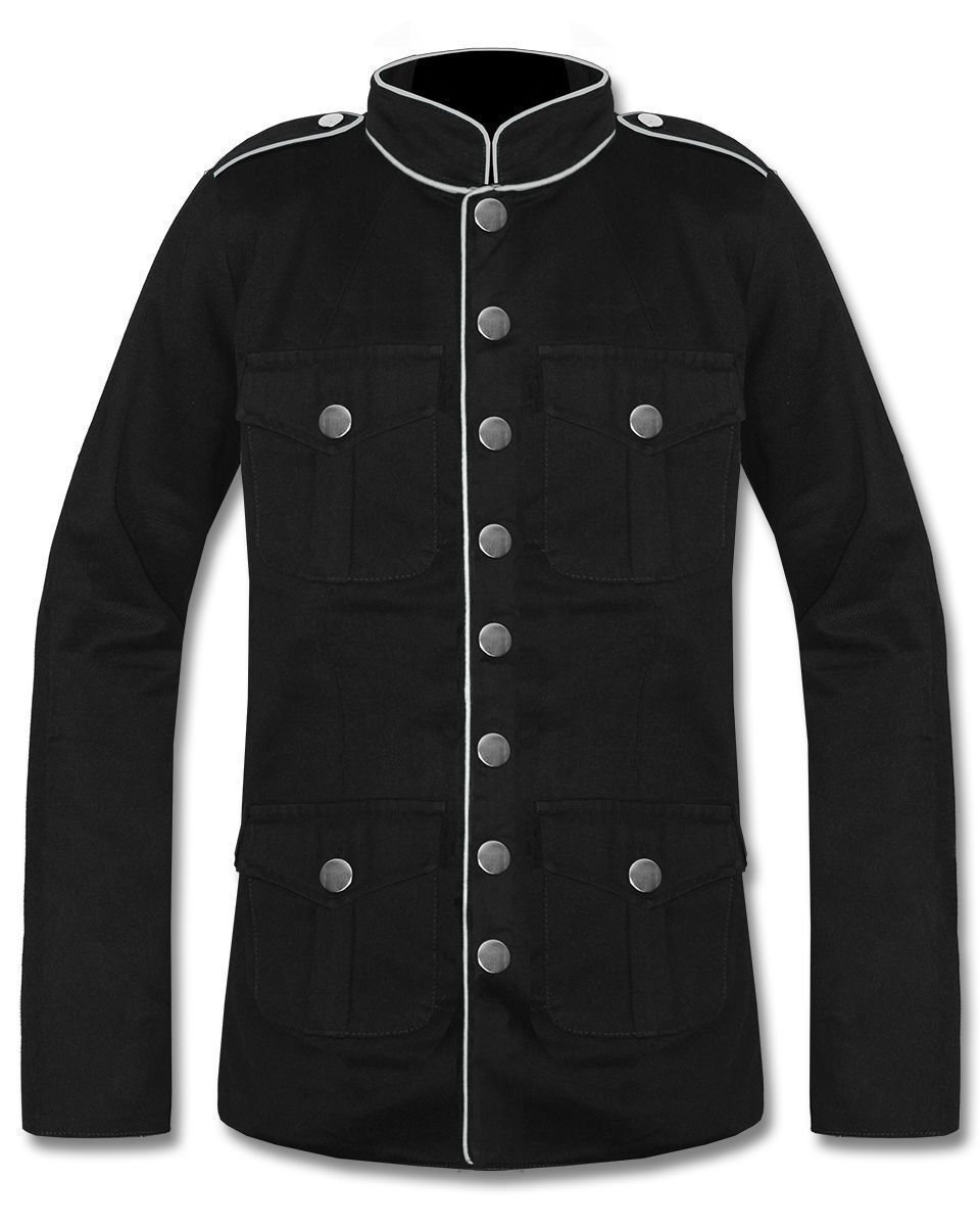 Mens Military Jacket White lining Goth Steampunk