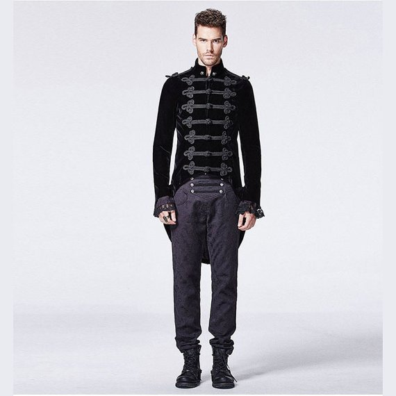 Gentlemen Mens Long Coat Steampunk Stand Collar Coat with Swallow Tail Stage Performance Outwear