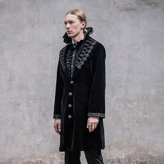Gothic Men's Dress Coat Steampunk Lapel Neck Long Jacket