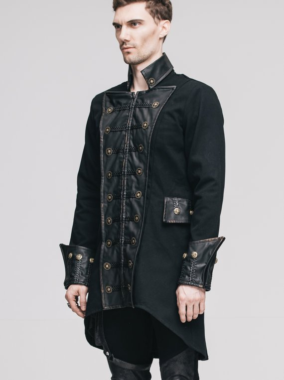 Steampunk Mens Trench Coat Double-breasted Gothic Black Long Jacket