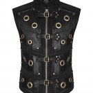 Handmade Mens Steampunk Waistcoat Vest Black Real Leather Gothic Dieselpunk