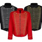 MEN'S BLACK GOLD SILVER EMO PUNK GOTHIC OFFICER MILITARY DRUMMER PARADE JACKET