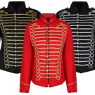 Ladies Black Gold Silver Emo Punk Gothic Napoleon Military Drummer Parade Jacket