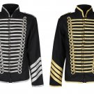 GOLD SILVER HUSSAR PARADE GOTHIC JACKET MEN'S MILITARY DRUMMER STEAMPUNK