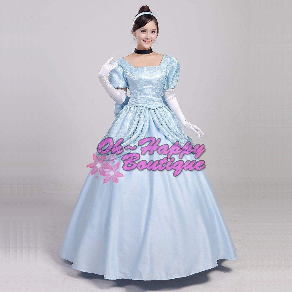 Adult Cinderella princess dress blue girl fancy dress halloween cosplay costume