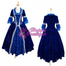 Blue Medieval Victorian Dress Costume Gothic Dress Ball Gown velvet