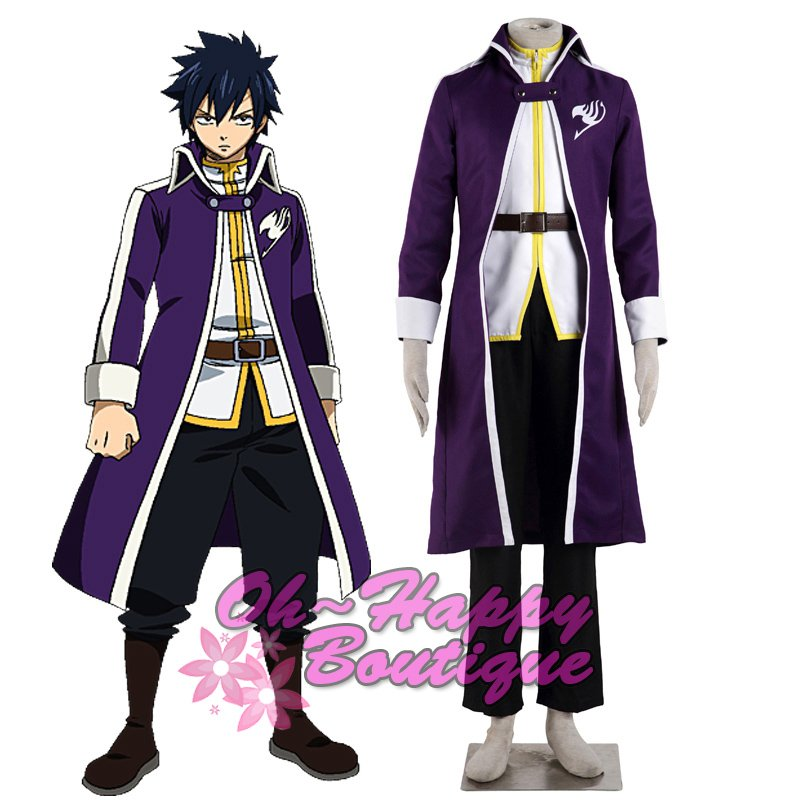Fairy Tail Gray Fullbuster cosplay costume adult men purple suit