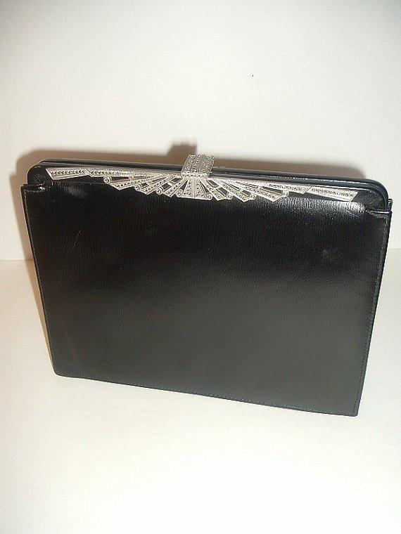 Vintage B B and B Travel Goods Black w Faux Marcasite Frame Handbag Purse