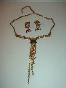 Vintage Rhinestone Choker Necklace and Earrings Set
