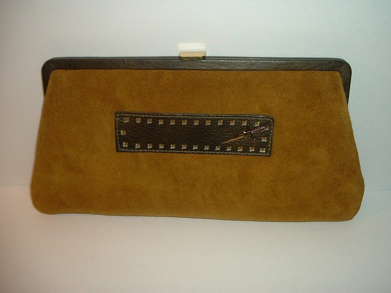 Vintage B B and B Travel Goods Ruth Salz Saber Sabre Suede Clutch