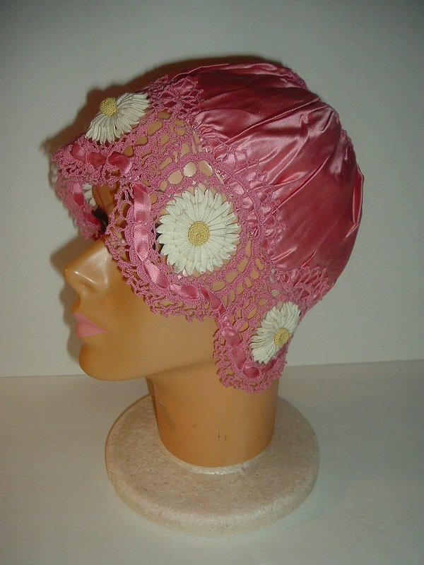 Vintage Rose Satin and Crocheted Daisy Ladys Night Cap