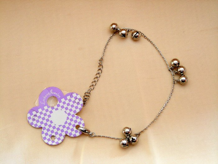 NWT Anklet Ankle Bracelet with Bells Belly Dance Silver Tone 8 inch