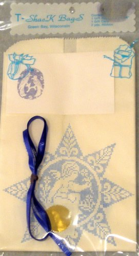 Gift Bag Blue Lace Angel with Ribbon and Gift Tag 5 X 14 inches