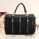 Women's Handbag Oblique Carry Casual Big Bag Retro Lace Bags - Black