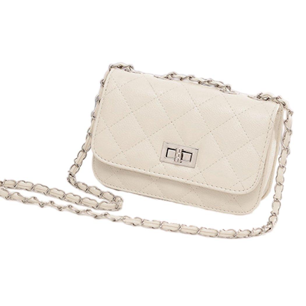 White Leather Cute Mini Cross Body Chain Shoulder Bag Handbag Purse